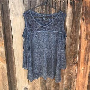 Style & Co. Cold Shoulder Knit Burnout Blouse